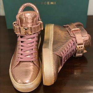 Buscemi 100MM Metallic Snakeskin Effect Hi Sneaker